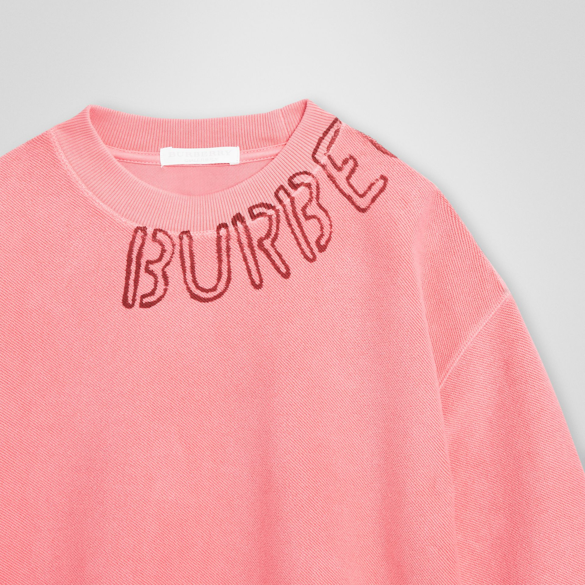 Stencil Logo Print Cotton Sweatshirt in Bright Pink | Burberry - gallery image 4