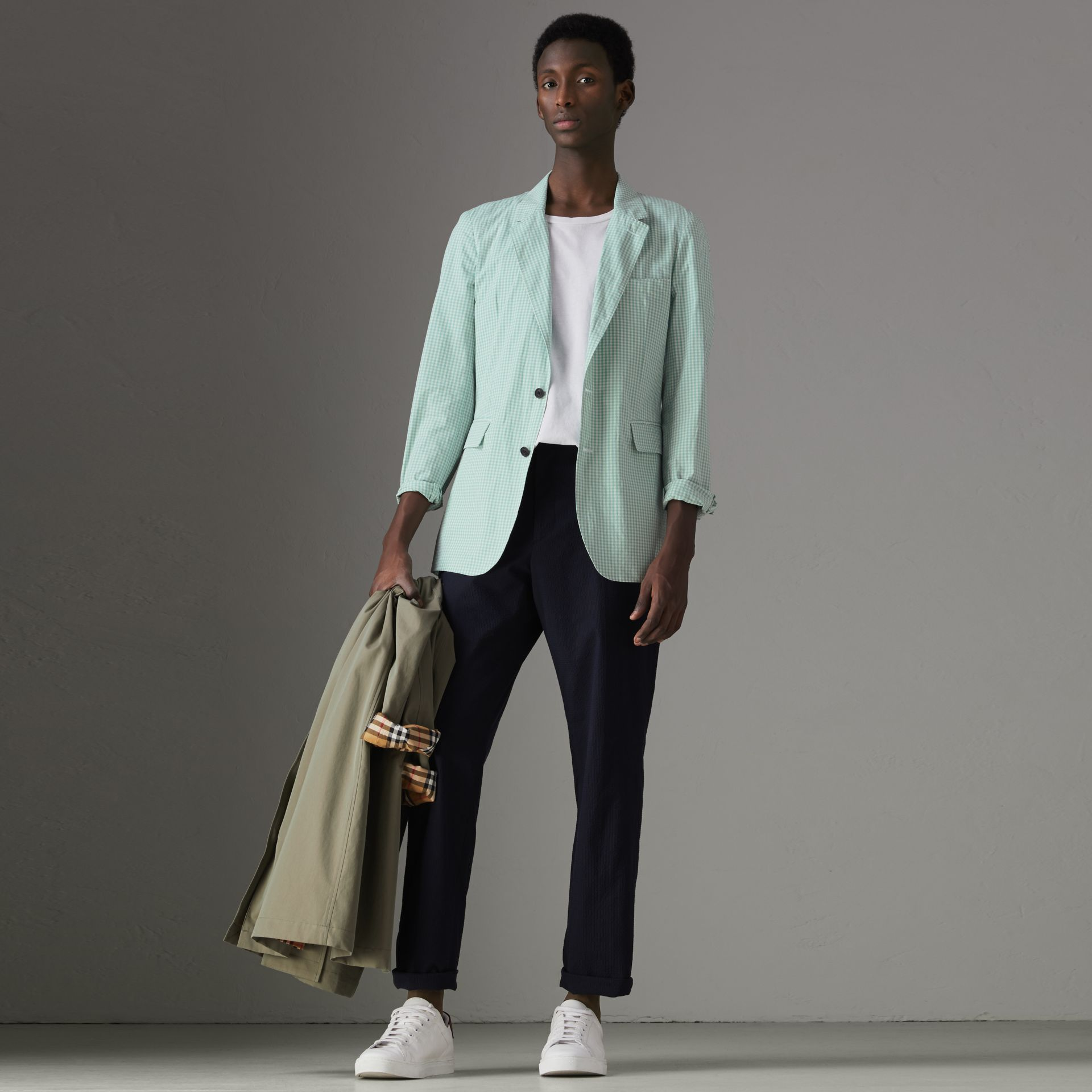 Slim Fit Gingham Cotton Tailored Jacket in Pale Opal - Men | Burberry United States - gallery image 0
