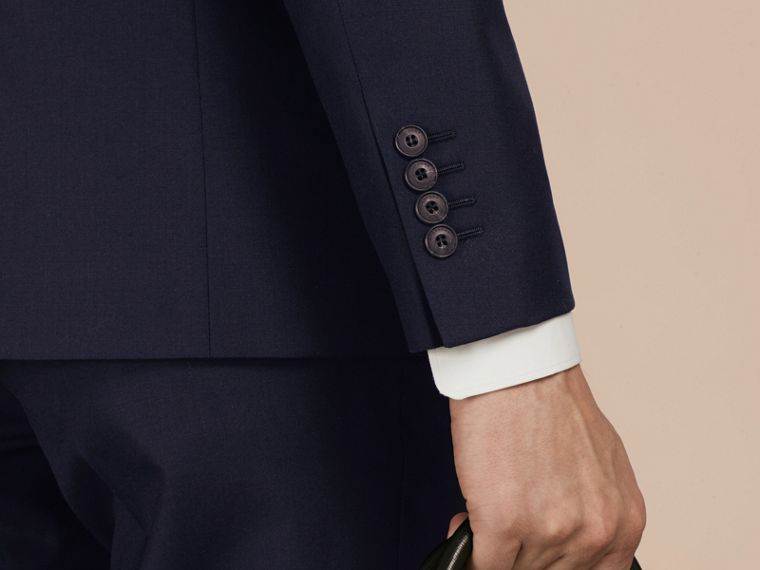 Slim Fit Wool Part-canvas Suit in Navy - Men | Burberry - cell image 4