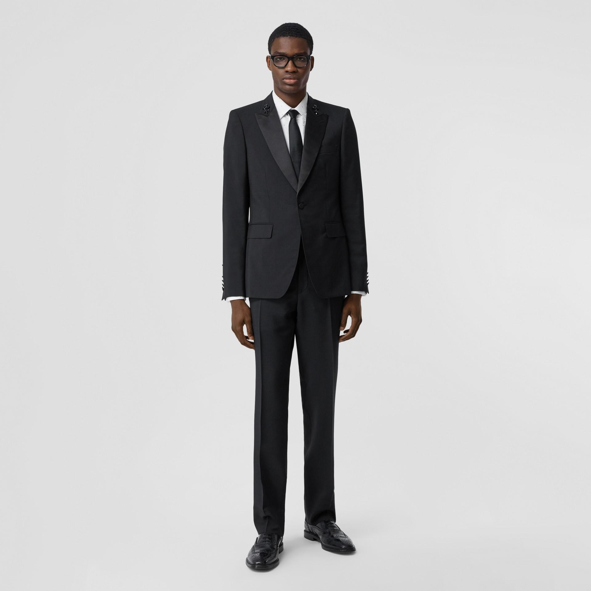English Fit Embellished Mohair Wool Tuxedo Jacket in Black - Men | Burberry United Kingdom - gallery image 0