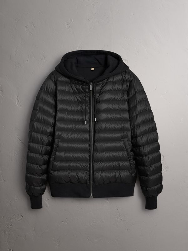 Reversible Down-filled Hooded Bomber Jacket in Black - Men | Burberry - cell image 3