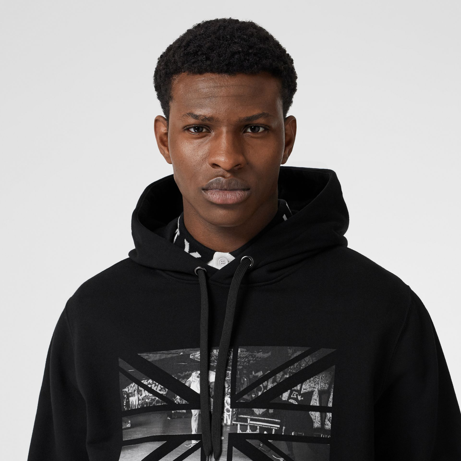 Union Jack Photo Print Cotton Hoodie in Black - Men | Burberry - gallery image 1