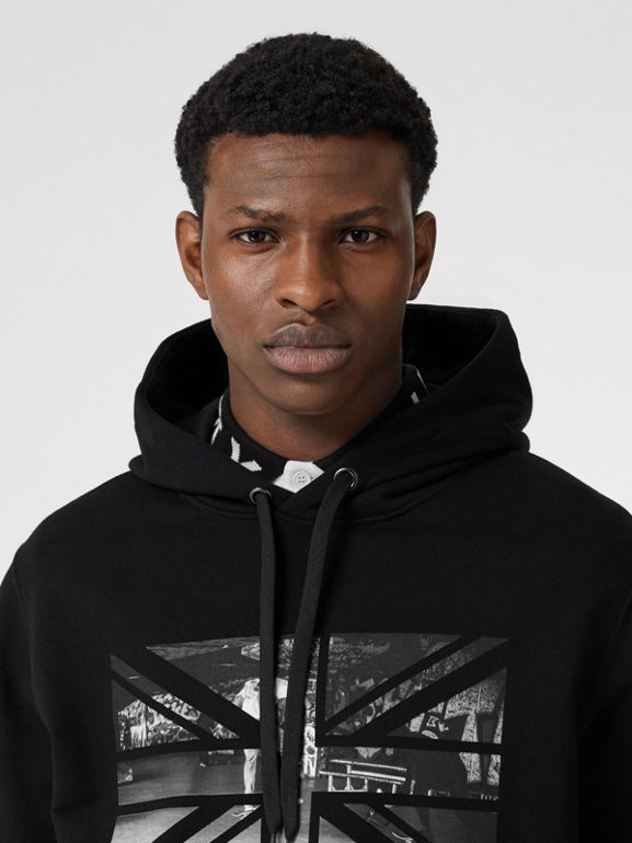 Union Jack Photo Print Cotton Hoodie in Black - Men | Burberry - cell image 1
