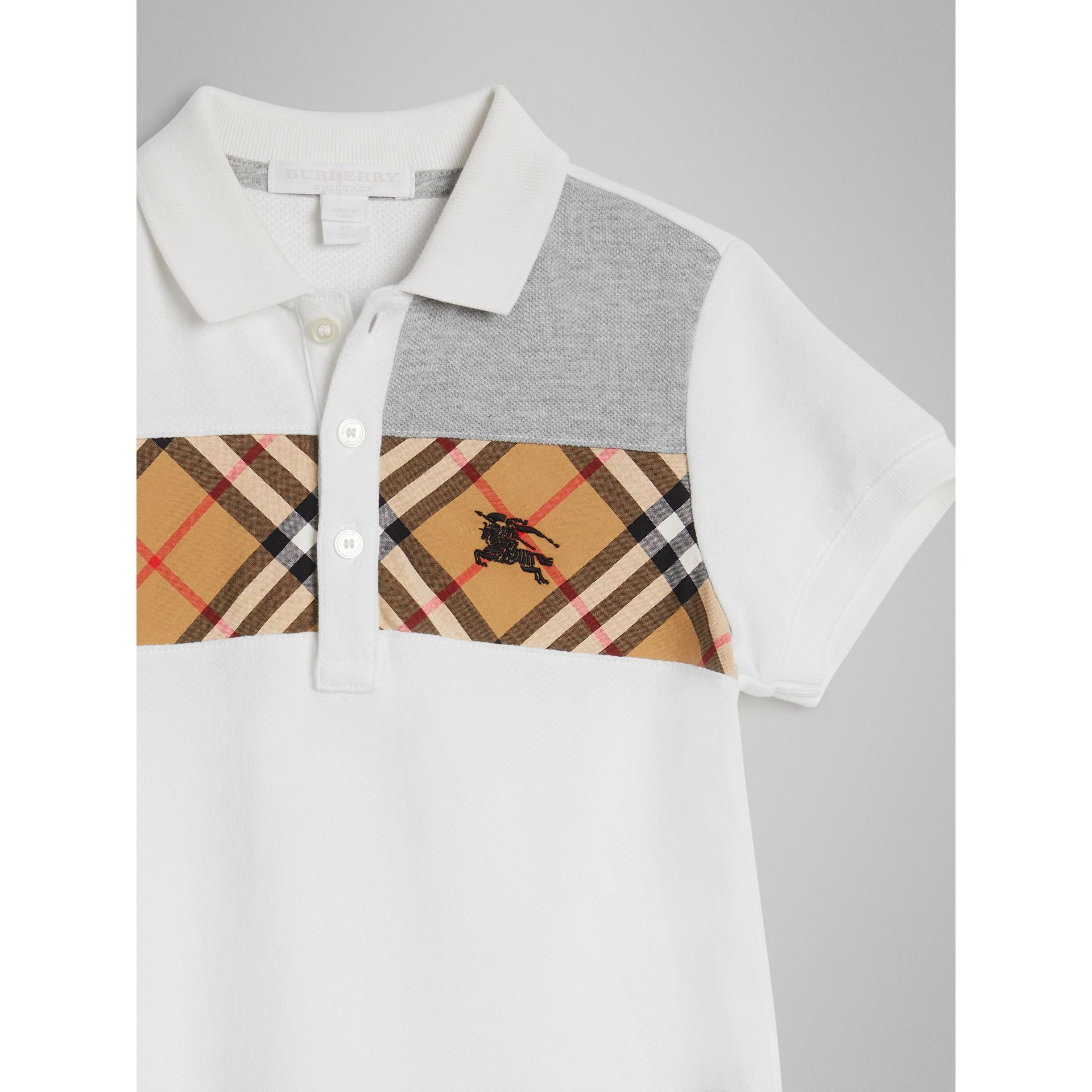 Vintage Check Panel Cotton Polo Shirt in White - Boy | Burberry - gallery image 4