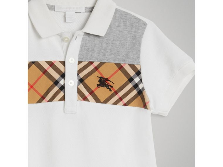 Vintage Check Panel Cotton Polo Shirt in White - Boy | Burberry - cell image 4