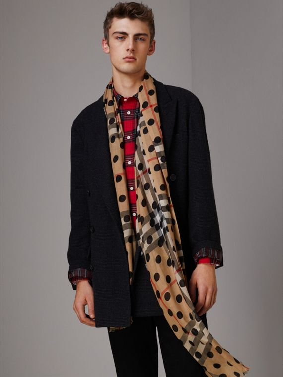 Spot Print and Check Lightweight Wool Silk Scarf in Black | Burberry - cell image 3
