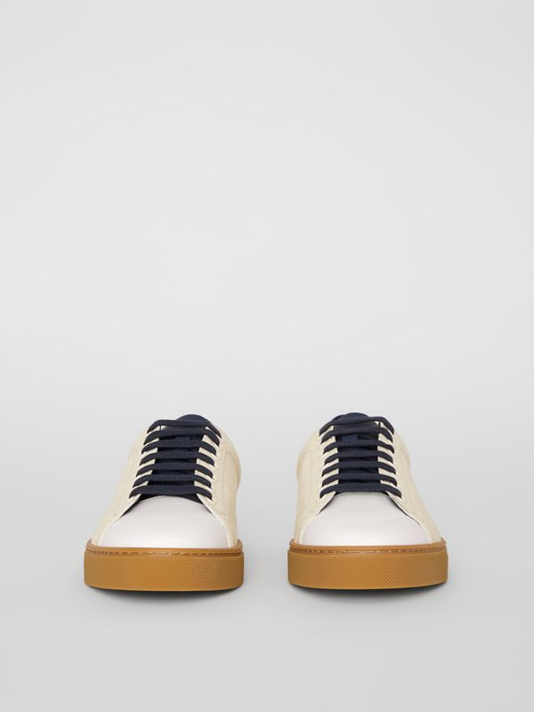Perforated Check Leather Sneakers in Cream - Men | Burberry - cell image 3