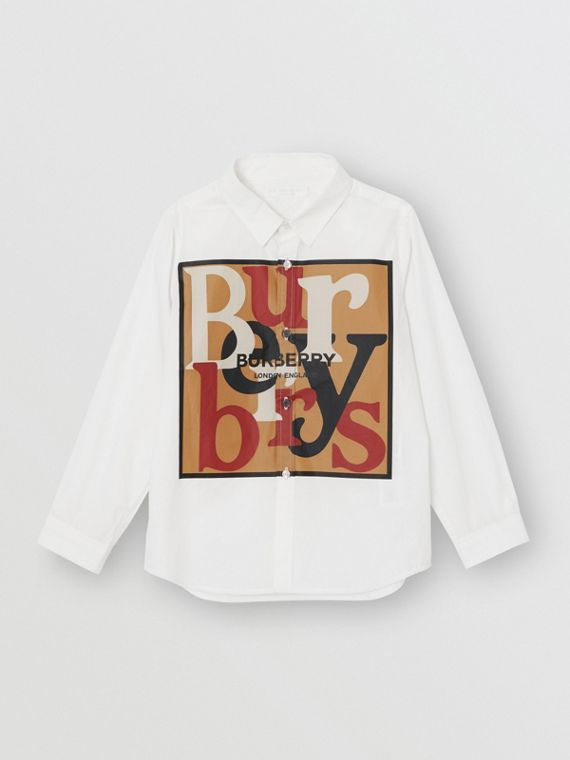 Logo and Archive Scarf Print Stretch Cotton Shirt in White