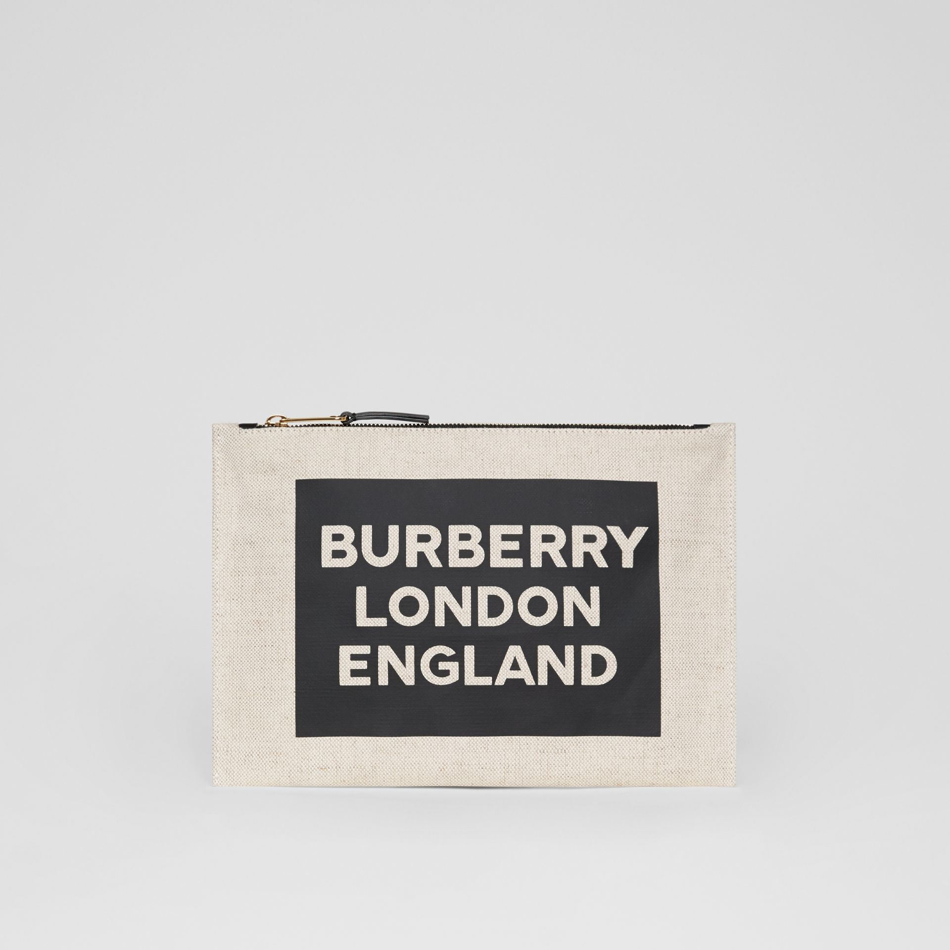 Logo Cotton Canvas Pouch in Natural | Burberry Canada - gallery image 4