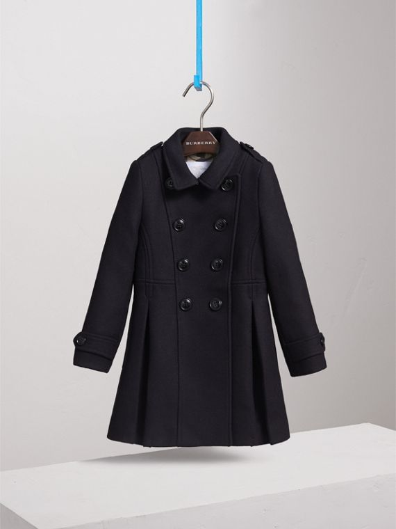 Technical Wool Cashmere Double-Breasted Coat in Navy - Girl | Burberry - cell image 2
