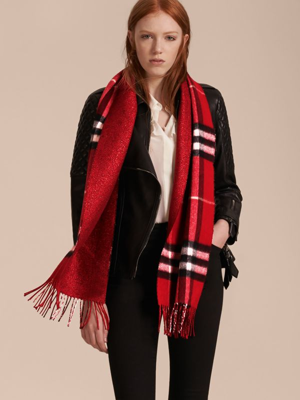 Reversible Metallic Check Cashmere Scarf in Parade Red - Women | Burberry Canada - cell image 2