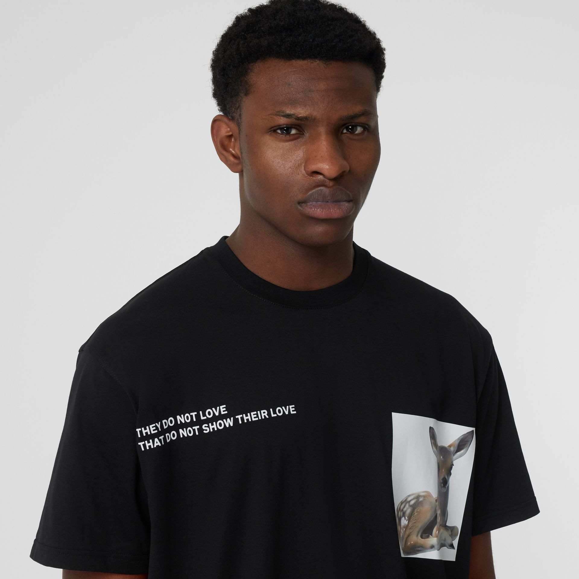 Montage Print Cotton Oversized T-shirt in Black - Men | Burberry United Kingdom - gallery image 1