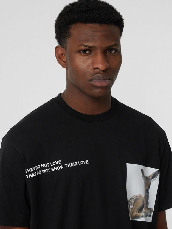 Montage Print Cotton Oversized T-shirt in Black - Men | Burberry - cell image 1