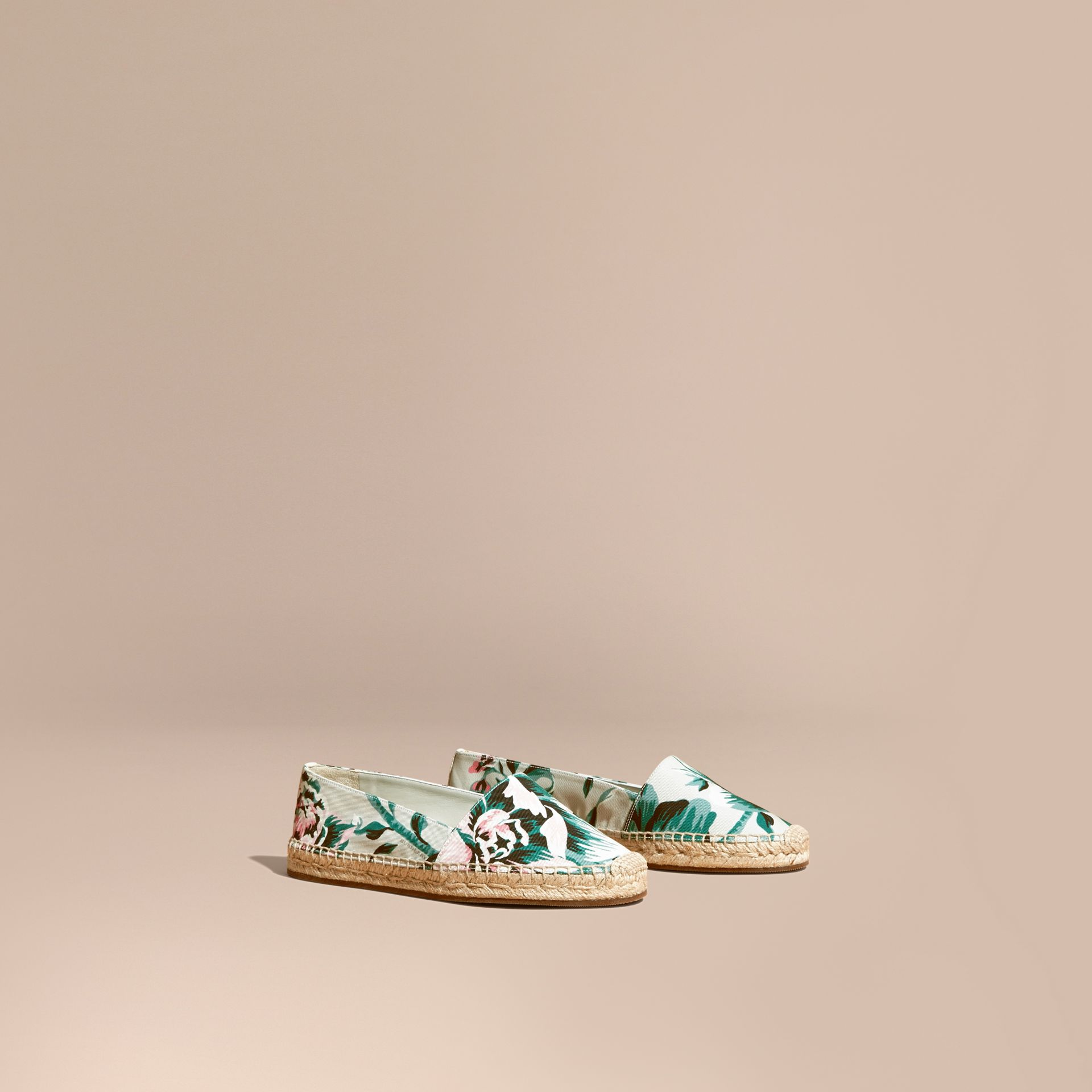 Peony Rose Print Canvas Espadrilles Emerald Green - gallery image 1