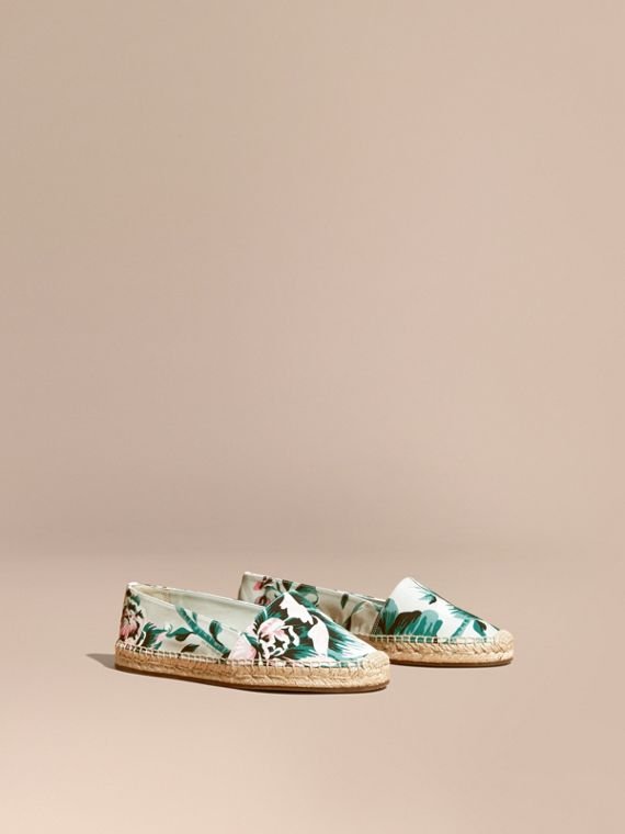 Peony Rose Print Canvas Espadrilles in Emerald Green