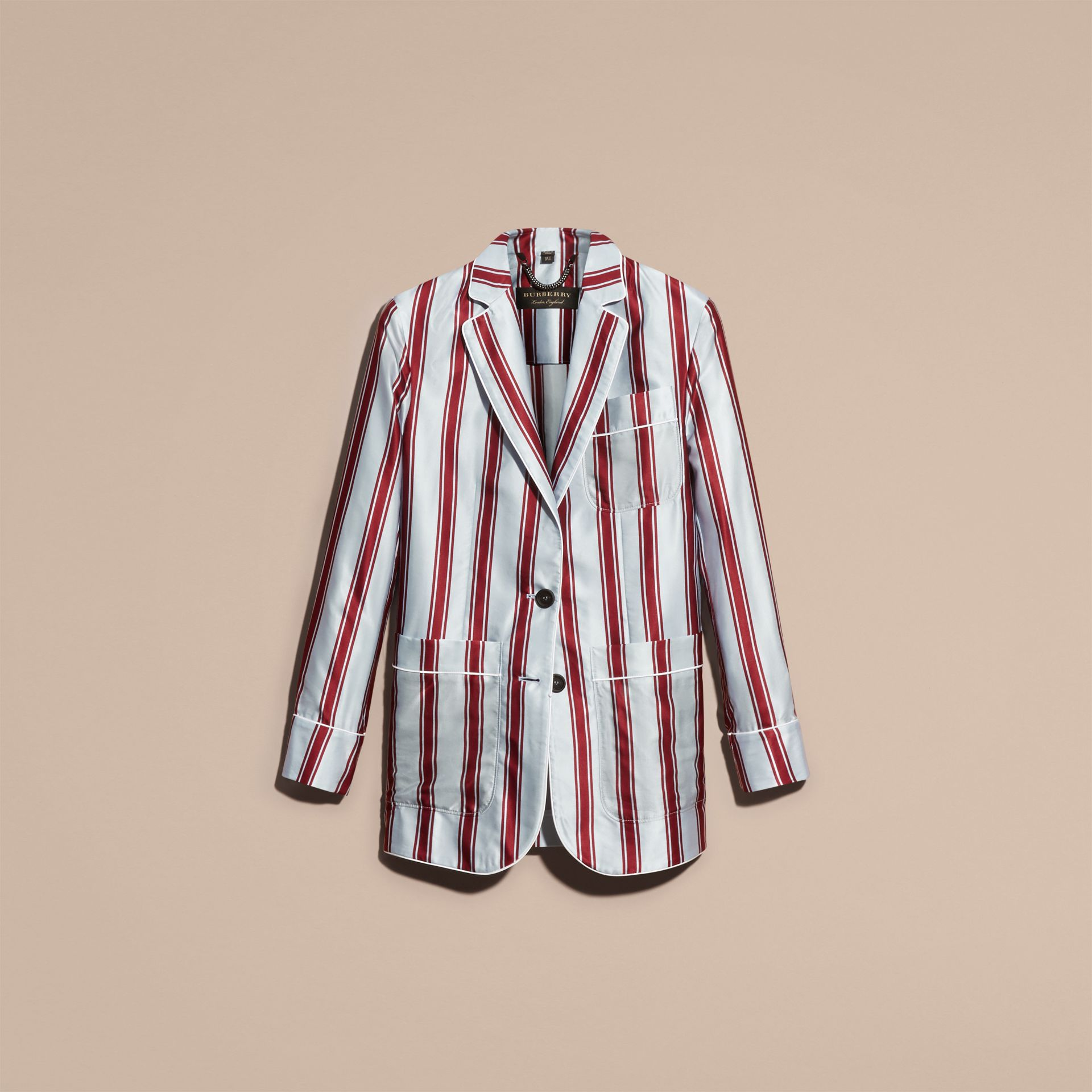 Unlined Panama Stripe Print Cotton Silk Blazer - gallery image 4