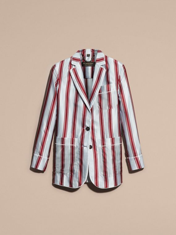 Unlined Panama Stripe Print Cotton Silk Blazer - cell image 3