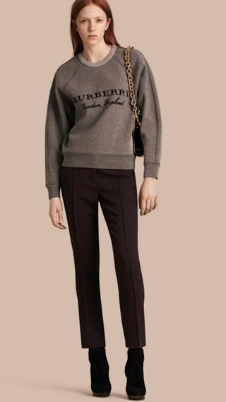Pantalon à coupe droite en laine et soie