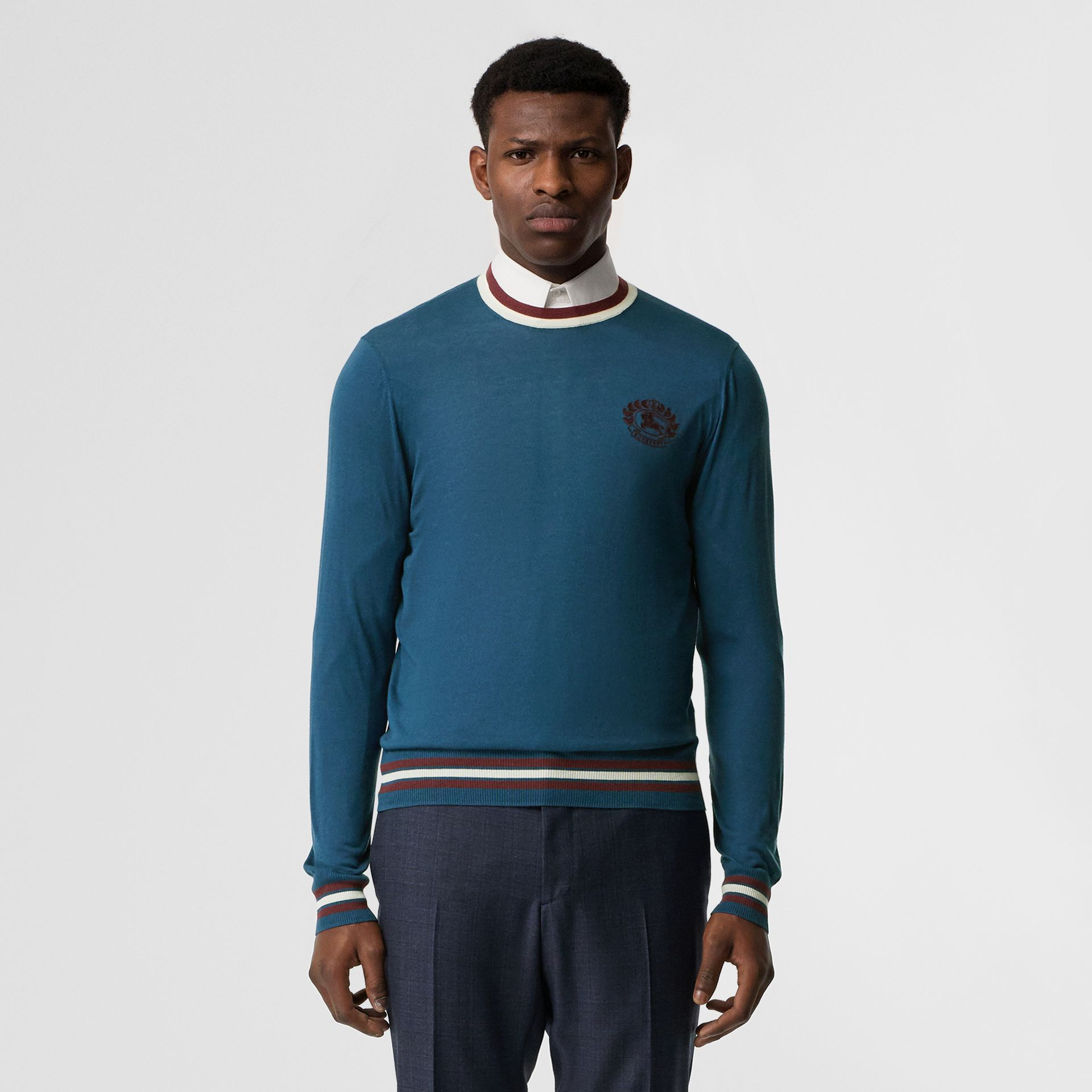Embroidered Crest Cotton Silk Sweater in Dark Teal Blue - Men | Burberry - gallery image 0