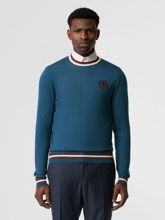Embroidered Crest Cotton Silk Sweater in Dark Teal Blue
