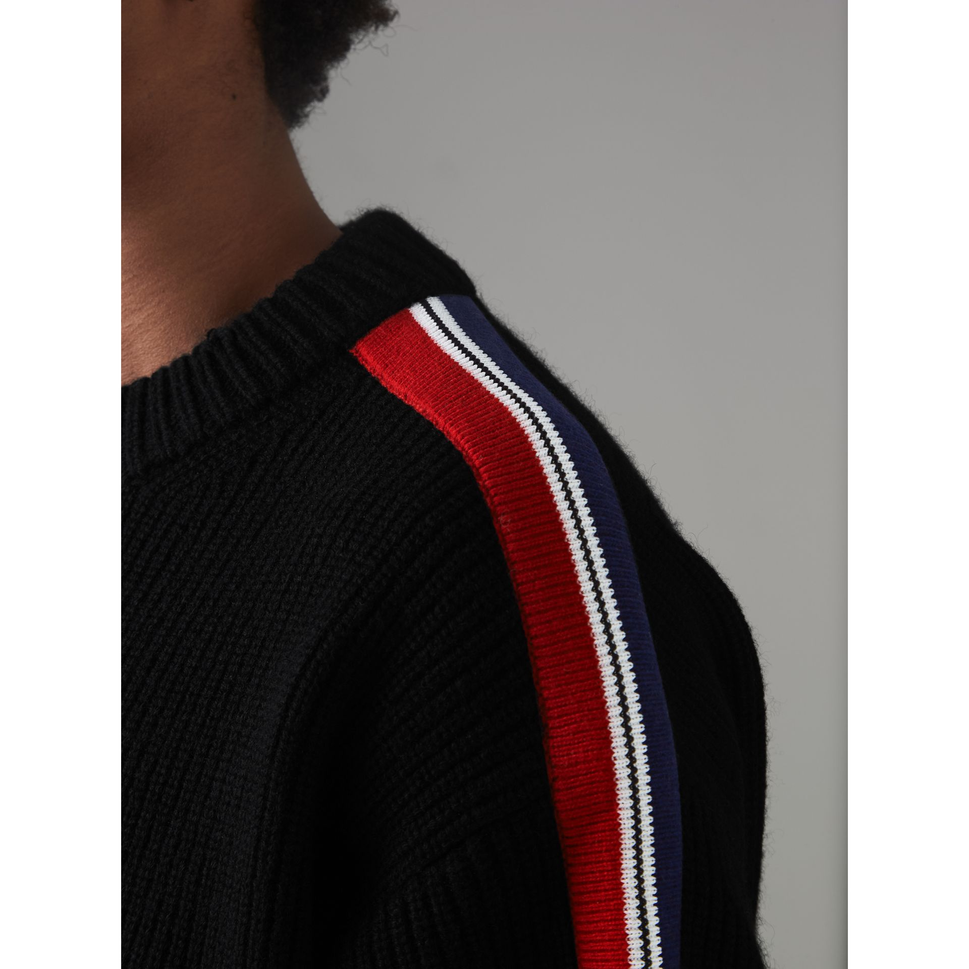 Stripe Detail Wool Cashmere Sweater in Black - Men | Burberry Canada - gallery image 1