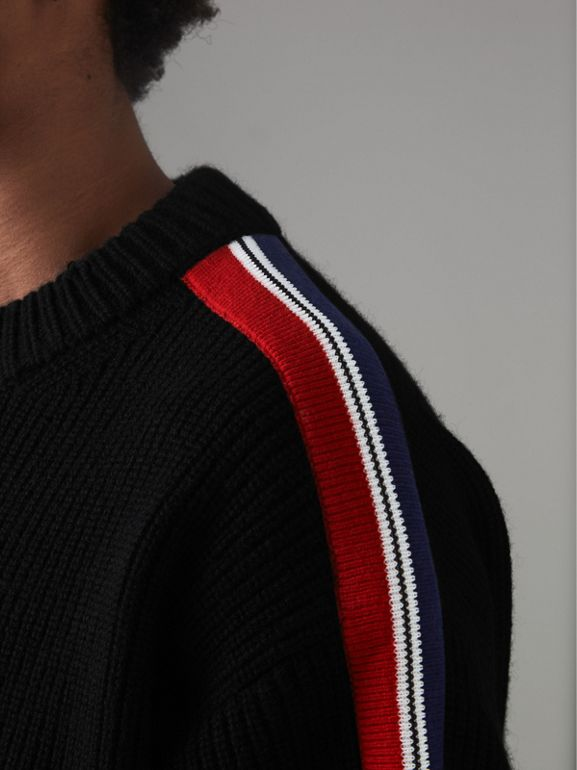 Stripe Detail Wool Cashmere Sweater in Black - Men | Burberry - cell image 1