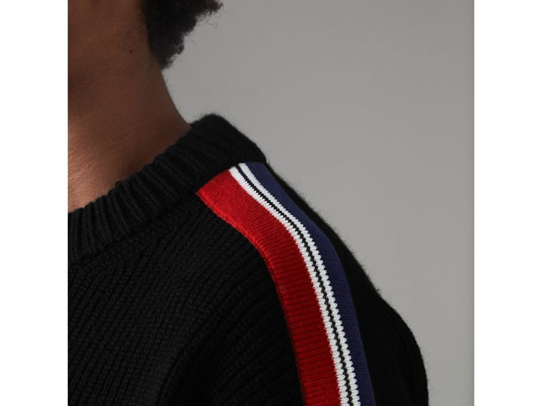 Stripe Detail Wool Cashmere Sweater in Black - Men | Burberry Canada - cell image 1