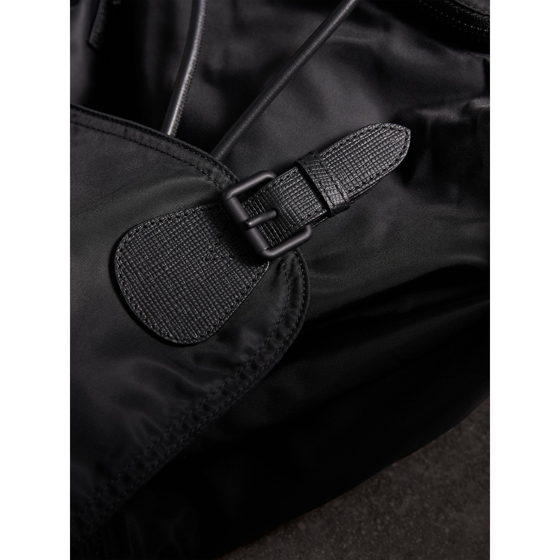 The Extra Large Rucksack in Technical Nylon and Leather in Black - Men | Burberry Australia - gallery image 6