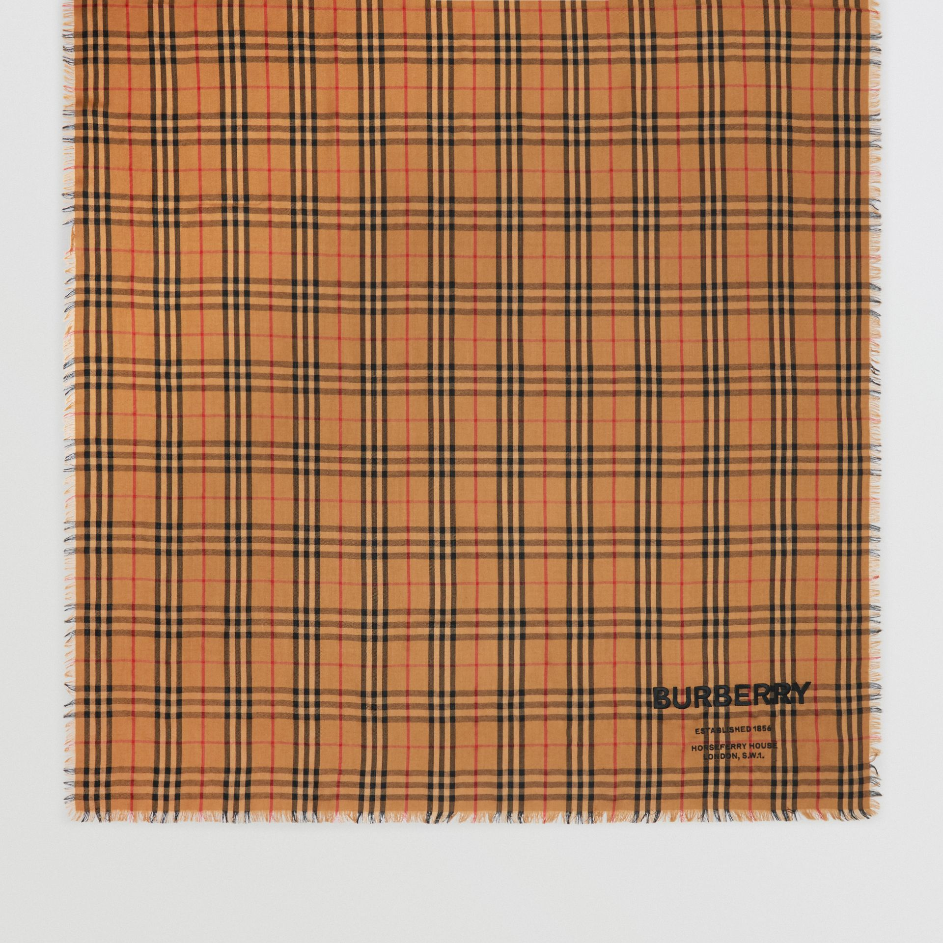 Embroidered Vintage Check Lightweight Cashmere Scarf in Camel | Burberry - gallery image 2