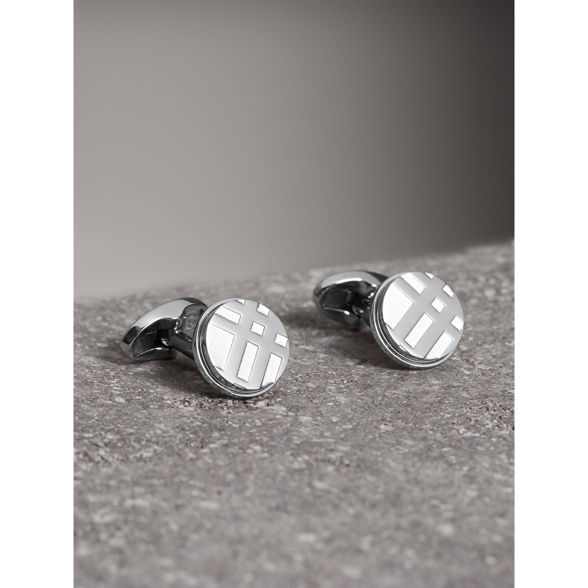 Check-engraved Round Cufflinks in Silver - Men | Burberry Singapore - gallery image 0