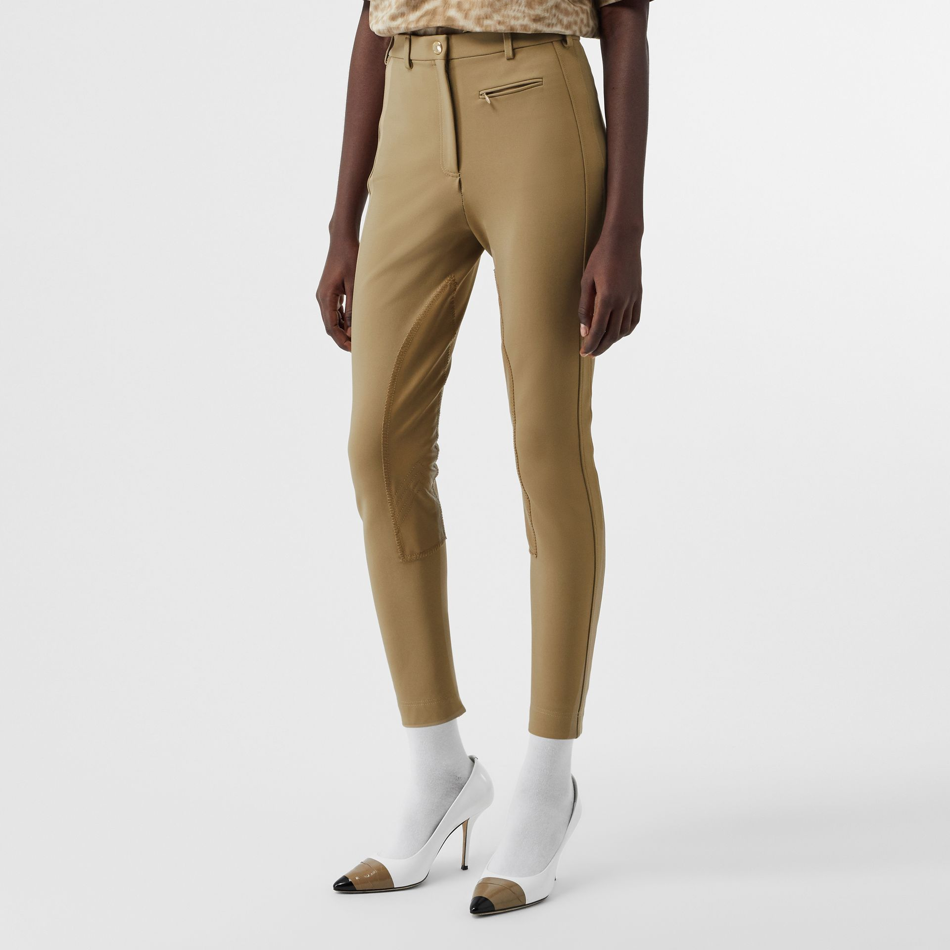 Lambskin Panel Stretch Crepe Jersey Trousers in Honey - Women | Burberry United Kingdom - gallery image 4