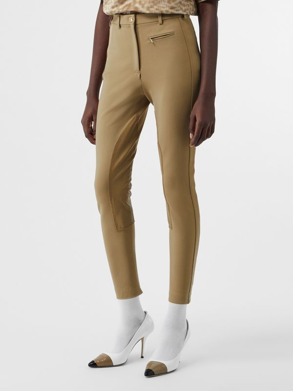 Lambskin Panel Stretch Crepe Jersey Trousers in Honey - Women | Burberry - cell image 3