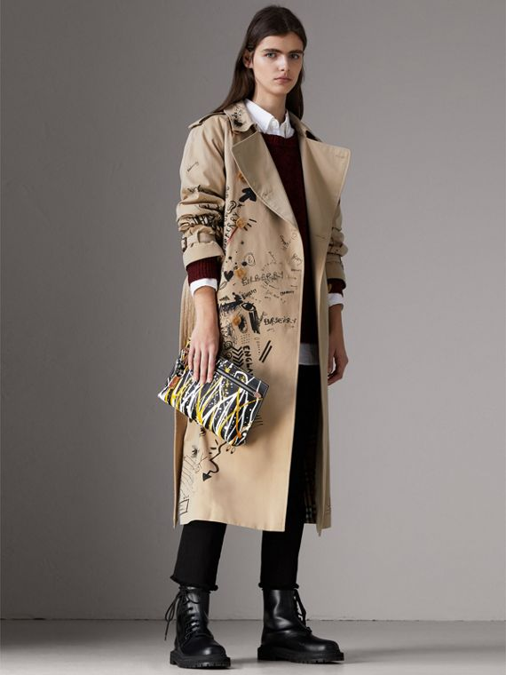 Trousse in pelle Trench con motivo a macchie (Nero/marroncino) - Donna | Burberry - cell image 2