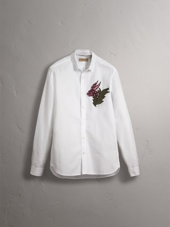 Button-down Collar Beasts Motif Cotton Oxford Shirt in White - Men | Burberry - cell image 3