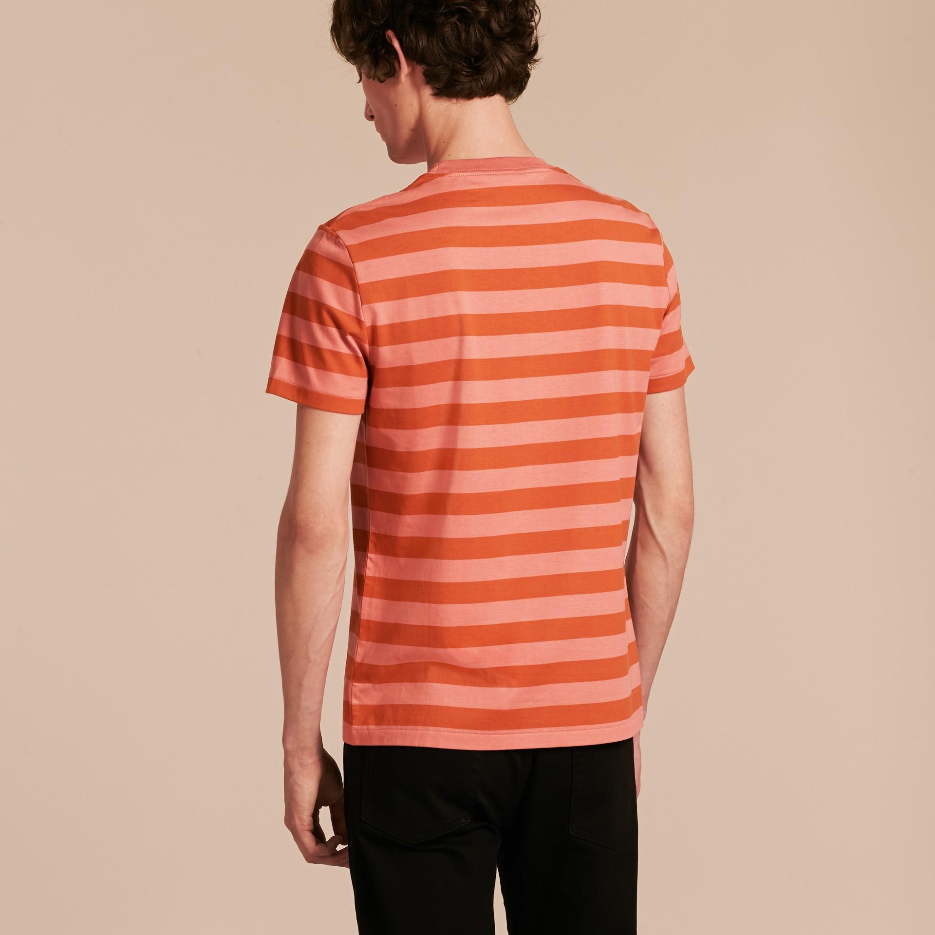 Striped Cotton T-Shirt Orange/rose Pink - gallery image 3