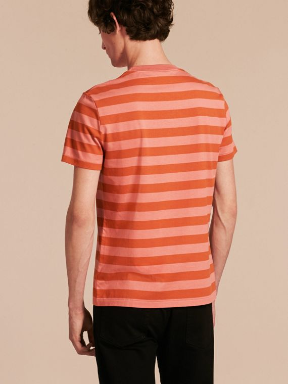 Striped Cotton T-Shirt Orange/rose Pink - cell image 2