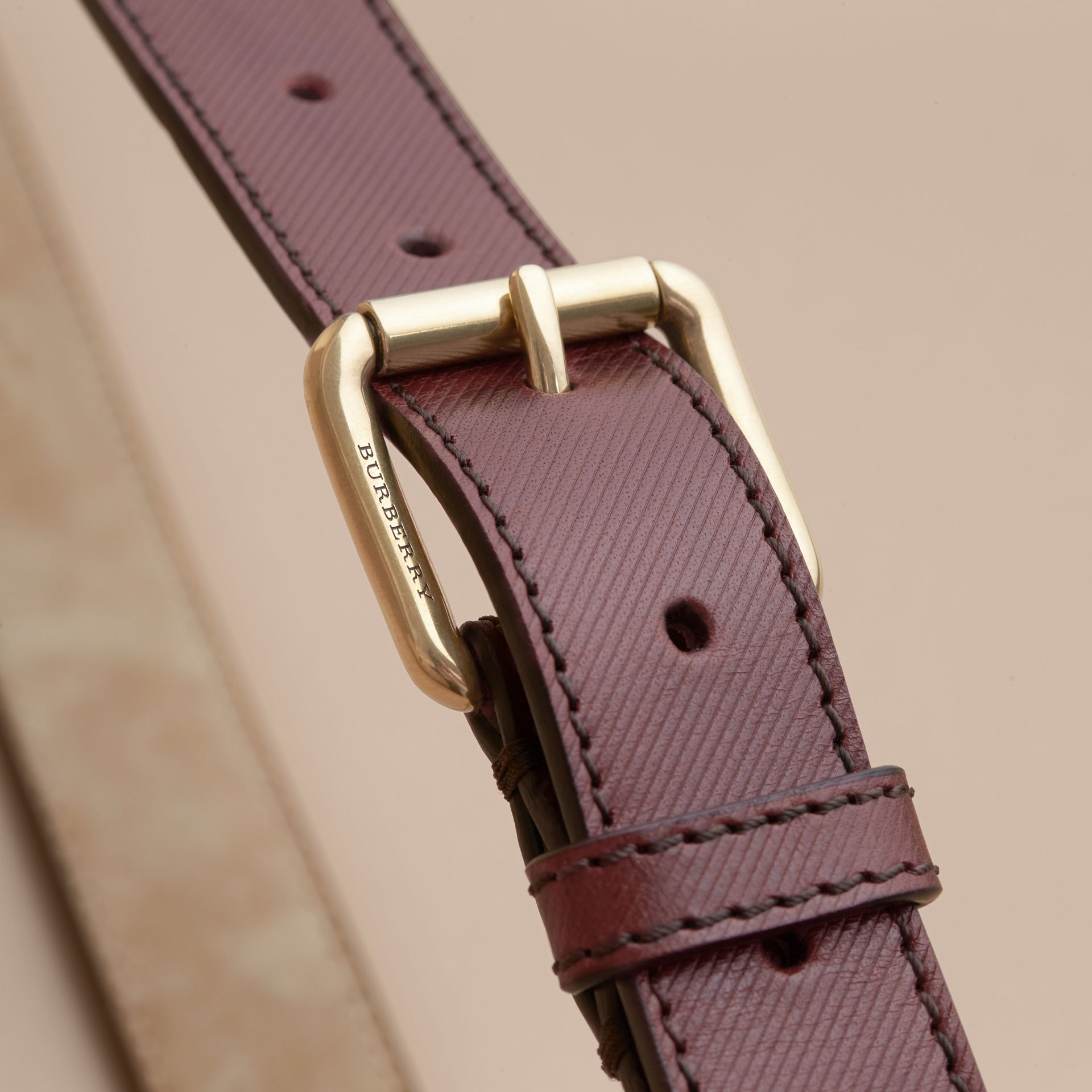 Trench Leather Belt in Wine - Men | Burberry - gallery image 3