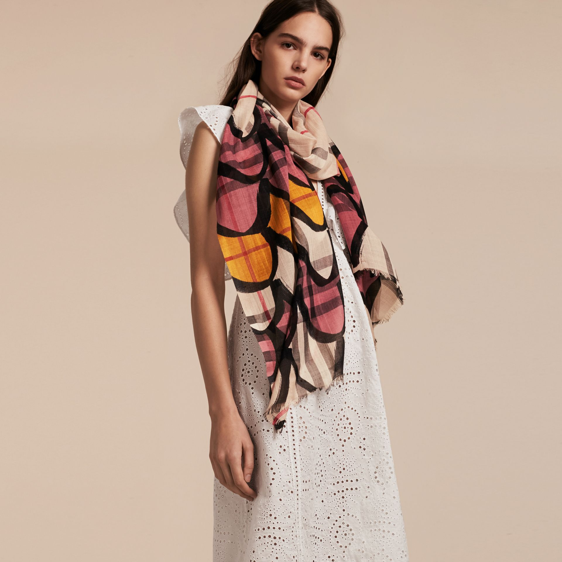 Check Wool Silk Scarf with Trompe L'oeil Print in Dusty Pink - Women | Burberry - gallery image 3