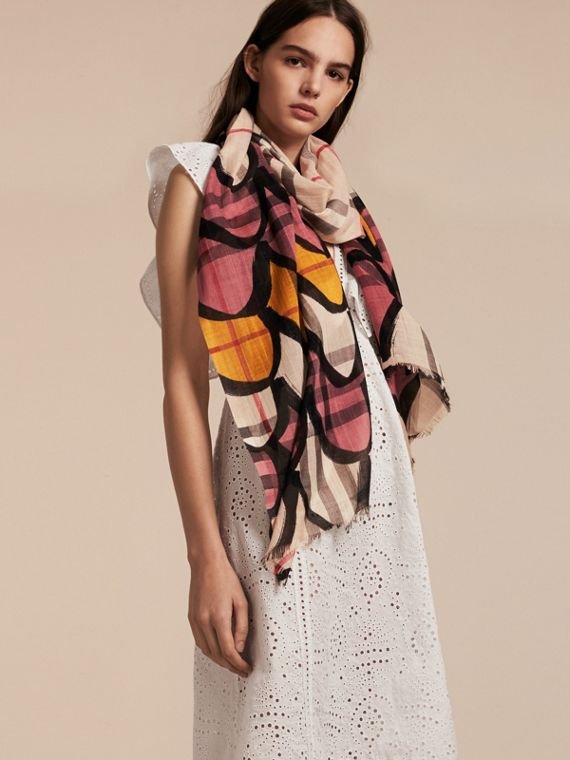 Check Wool Silk Scarf with Trompe L'oeil Print in Dusty Pink - Women | Burberry - cell image 2