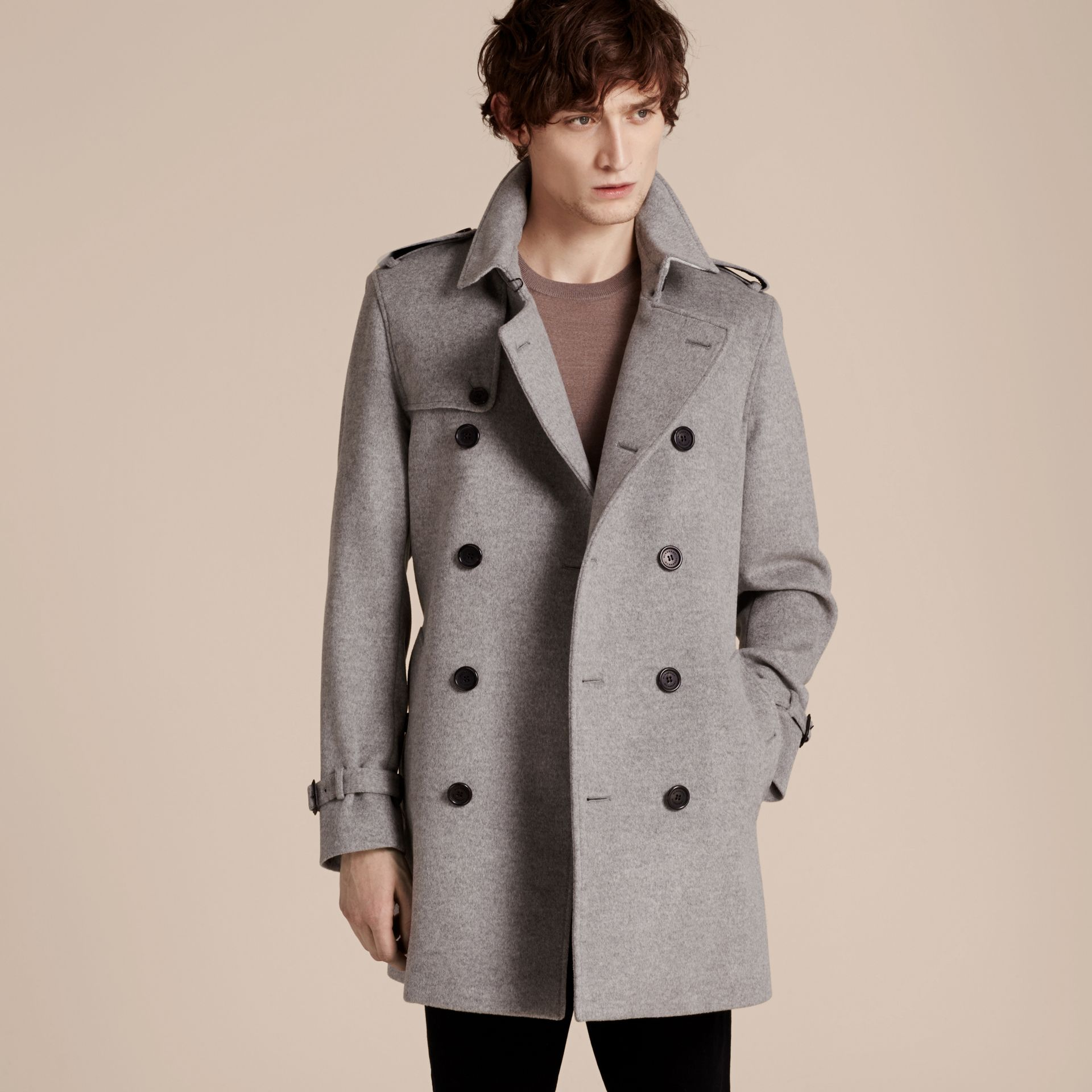 Pale grey melange Wool Cashmere Trench Coat Pale Grey Melange - gallery image 7