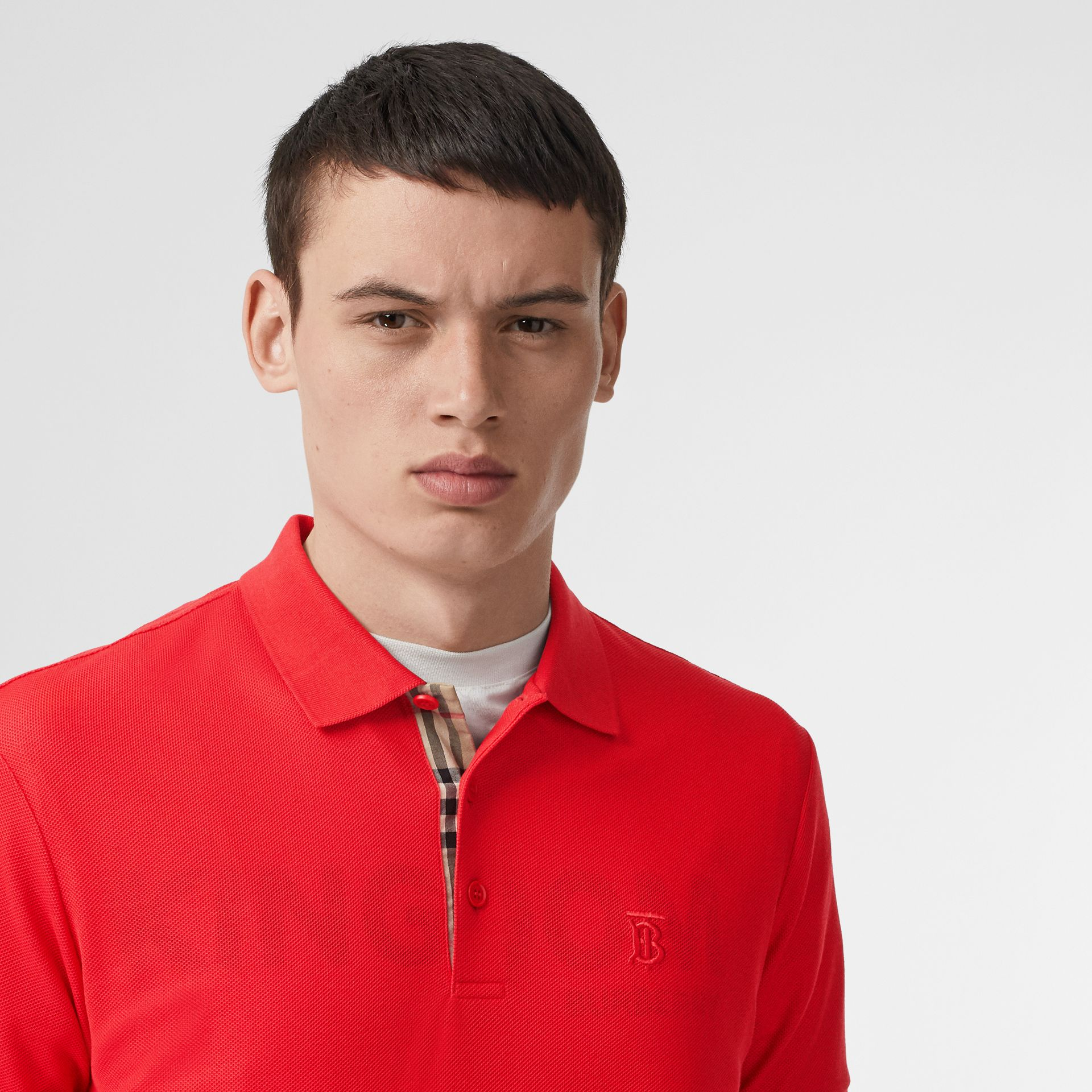 Monogram Motif Cotton Piqué Polo Shirt in Bright Red - Men | Burberry - gallery image 1