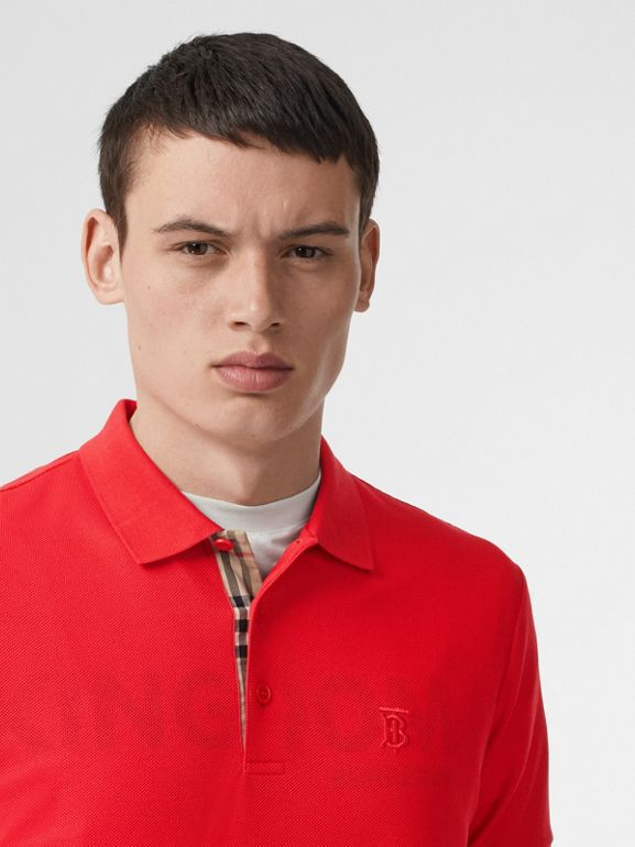 Monogram Motif Cotton Piqué Polo Shirt in Bright Red - Men | Burberry United Kingdom - cell image 1