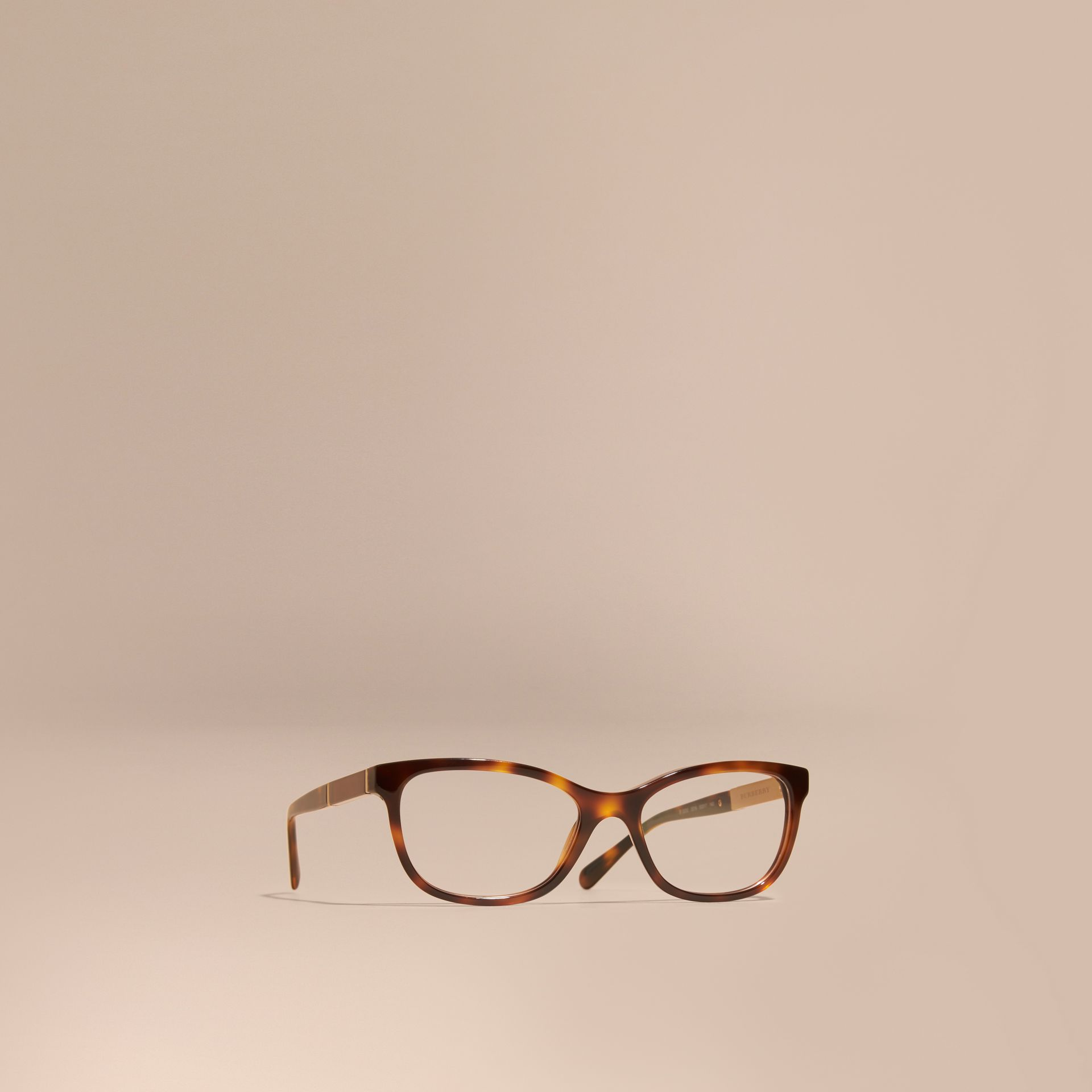 Light russet brown Check Detail Oval Optical Frames Light Russet Brown - gallery image 1