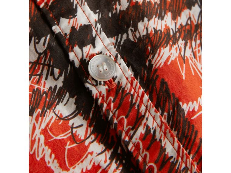 Scribble Check Button-down Collar Shirt in Bright Red - Boy | Burberry United Kingdom - cell image 1
