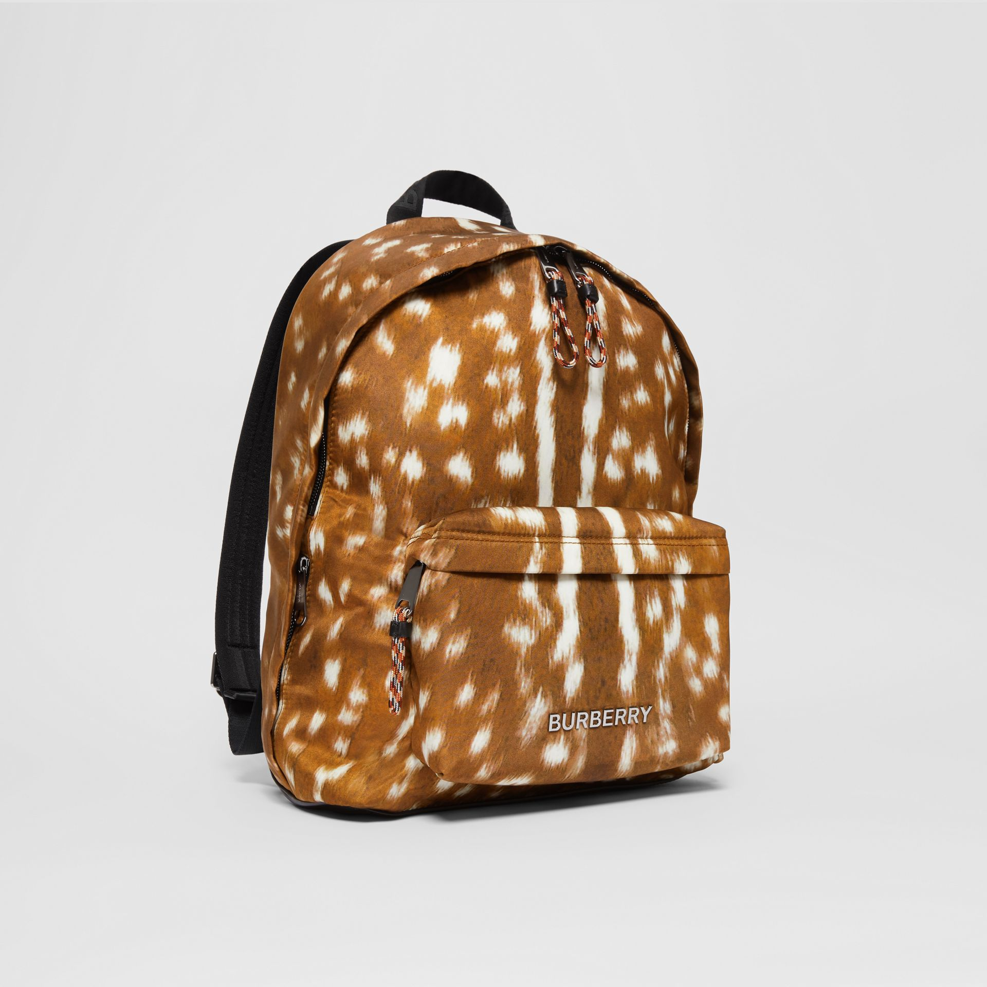 Deer Print Nylon Backpack in Tan/white | Burberry United Kingdom - gallery image 6