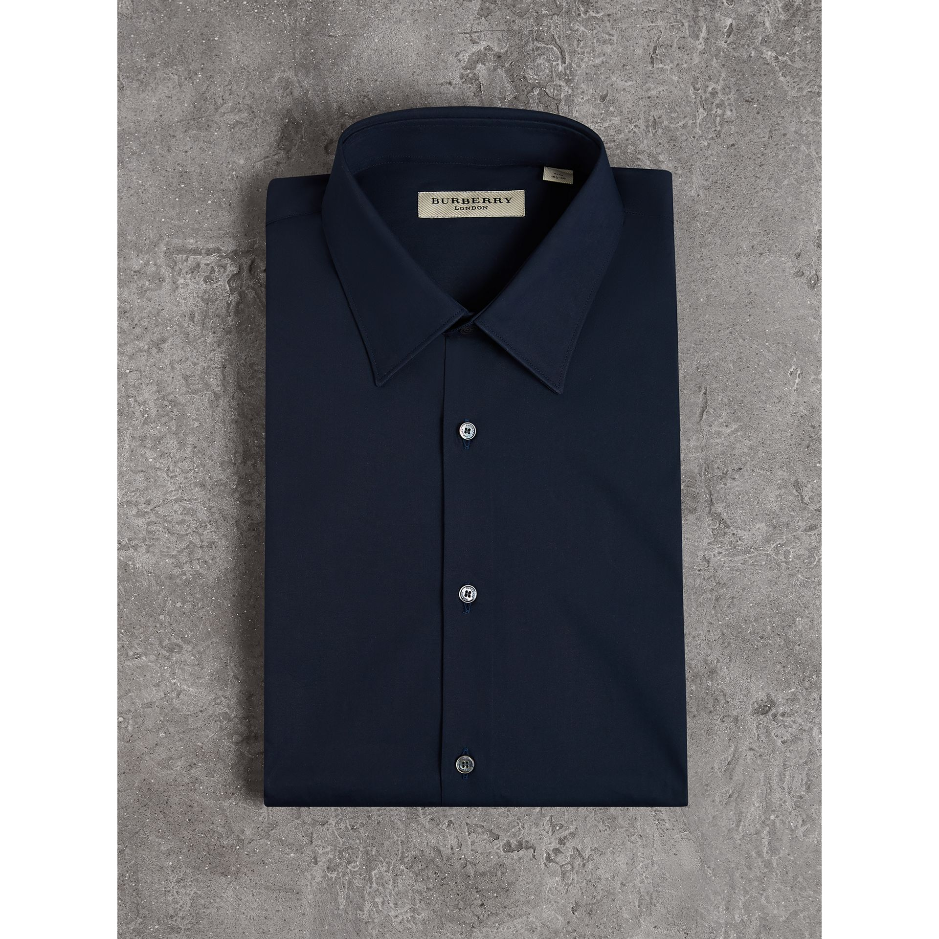 Slim Fit Stretch Cotton Shirt in Navy - Men | Burberry Canada - gallery image 4