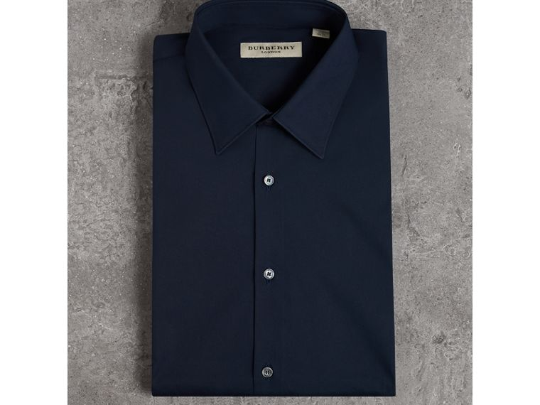 Slim Fit Stretch Cotton Shirt in Navy - Men | Burberry - cell image 4