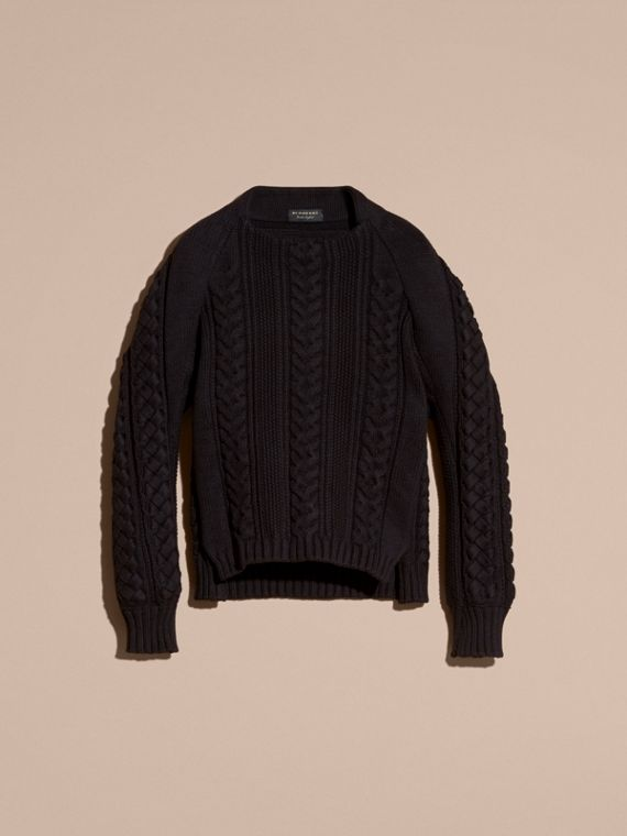 Navy black Multi-knit Cotton Blend Sweater - cell image 3