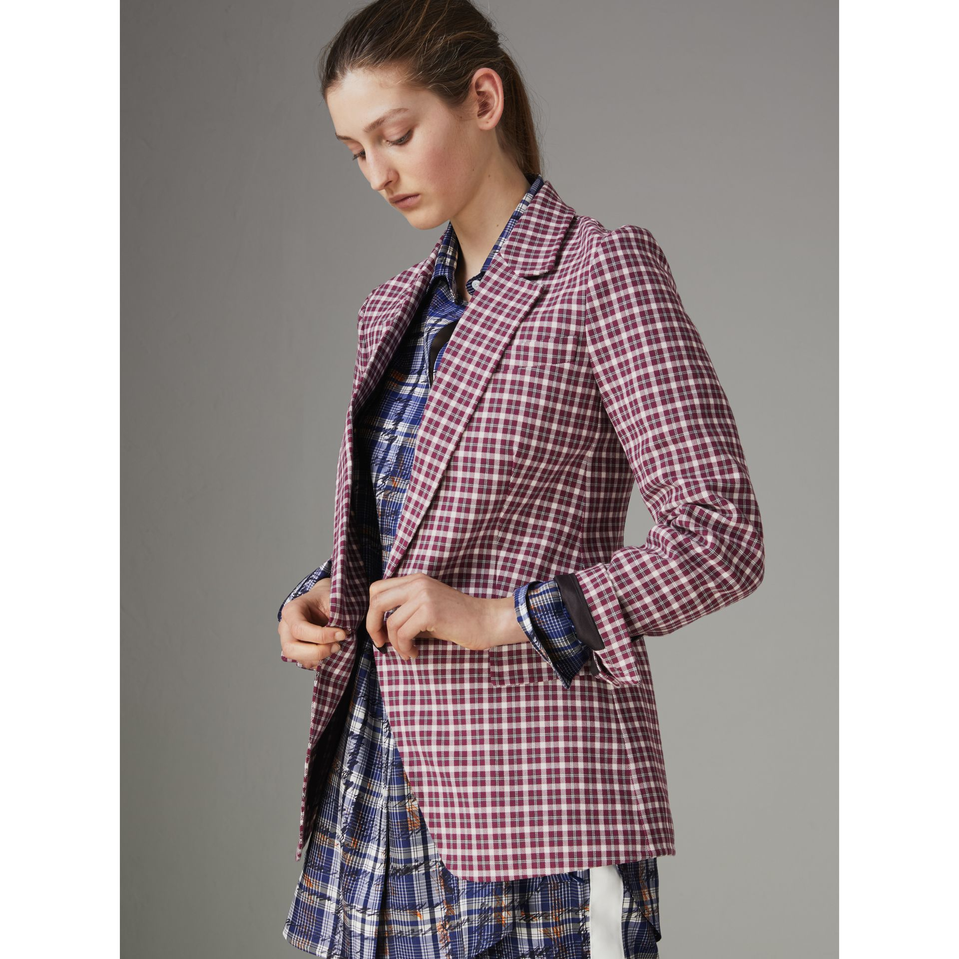 Check Cotton Tailored Jacket in Burgundy - Women | Burberry Singapore - gallery image 4