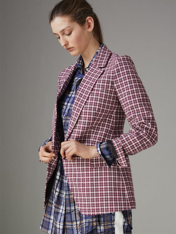 Check Cotton Tailored Jacket in Burgundy